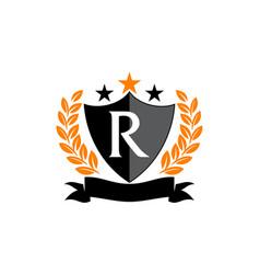Emblem star ribbon shield initial r vector
