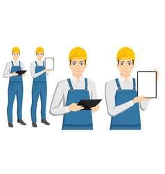 engineer with a tablet computer vector image