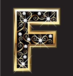 F gold letter with swirly ornaments vector image