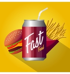 Fast food poster design isolated vector