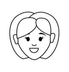 figure people happy face woman icon vector image
