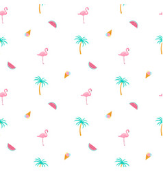 flamingo palm watermelon ice cream summer vector image