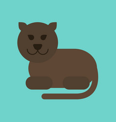 Flat icon on background cartoon panther vector