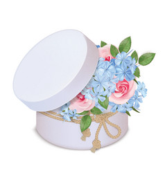 Gift box with a bouquet roses and phloxes vector