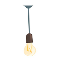 glowing light bulb hanging electric lamp vector image