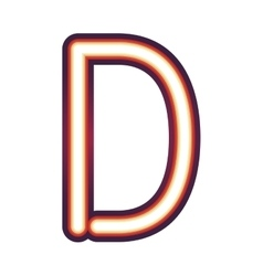 Glowing neon letter D vector image