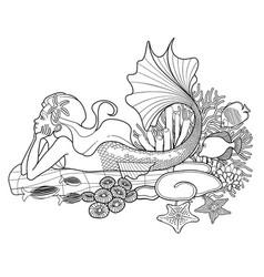 Graphic mermaid on the ocean bottom vector