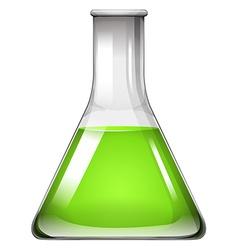 Green liquid in glass beaker vector