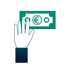 hand holding banknote euro money cash vector image