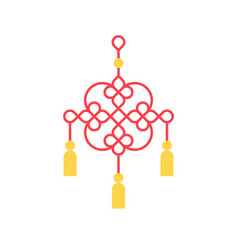 hanging chinese knot for lunar new year vector image