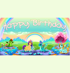Happy birthday card with fantasy animals vector