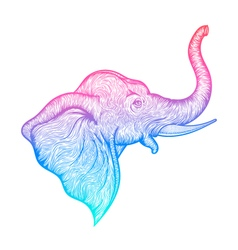 Head of a elephant in profile line art boho design vector