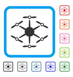Hexacopter framed icon vector