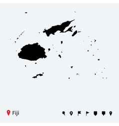 High detailed map of Fiji with navigation pins vector image