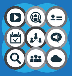 internet icons set with promote network media vector image