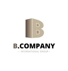 isometric gradient B letter logo Company vector image