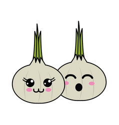 Kawaii happy and funny garlic vegetable icon vector