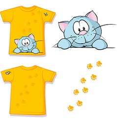 Kid shirt with cute cat peeking printed - isolated vector