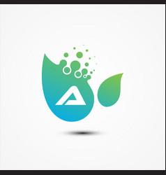leaf design with a letter symbol design minimalist vector image