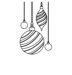 Line oval and circle balls hanging decoration vector