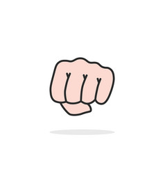 linear woman fist isolated on white vector image