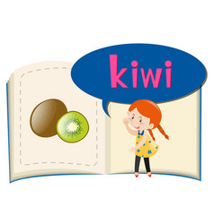 little girl and fresh kiwi vector image