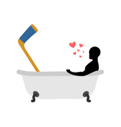 lover hockey man and hockey stick in bath joint vector image