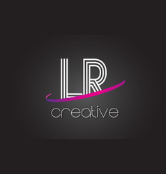 lr l r letter logo with lines design and purple vector image