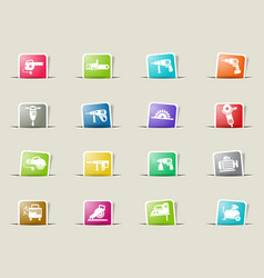 Machine tools icon set vector
