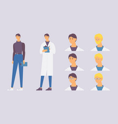 Male pharmacist character with various heads and vector