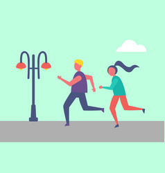 man and woman running together in city park lamp vector image