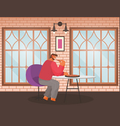 Man eat pizza in pizzeria alone cafe interior vector