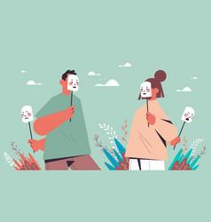 Man woman hide their emotions under masks fake vector