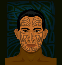 Maori man with tattoed face vector