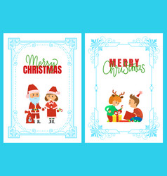 merry christmas holidays and happy winter posters vector image
