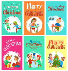 merry christmas wintertime activities kids playing vector image