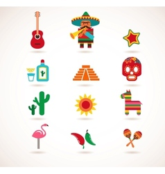 mexico love - set icons vector image