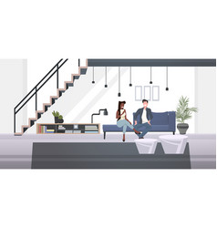 Mix race businesspeople couple sitting on couch vector