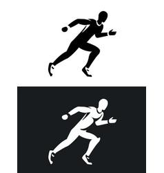 Muscular sprinter runner set black and white vector
