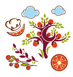 orange set cute vector image
