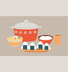 oriental cuisine dishes local vector image