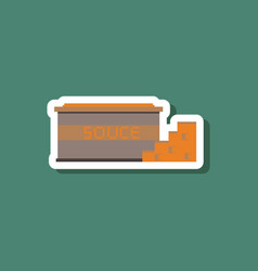 Paper sticker on stylish background cheese sauce vector