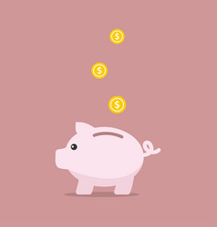 piggy bank in flat style vector image