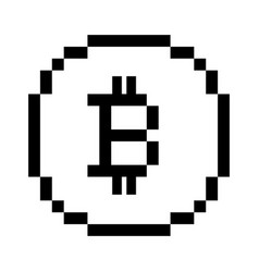 Pixel bitcoin icon vector
