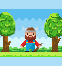 pixel-game character brave viking vector image