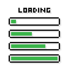 pixel loading bars set - isolated vector image