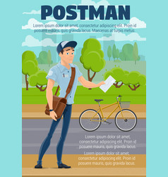 Postman with mail letter and bike postal service vector