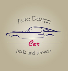 retro silhouette car element logo vector image vector image