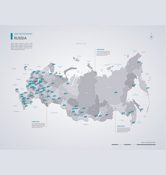 Russia map with infographic elements pointer marks vector