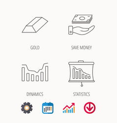 Save money dynamics chart and statistics icons vector